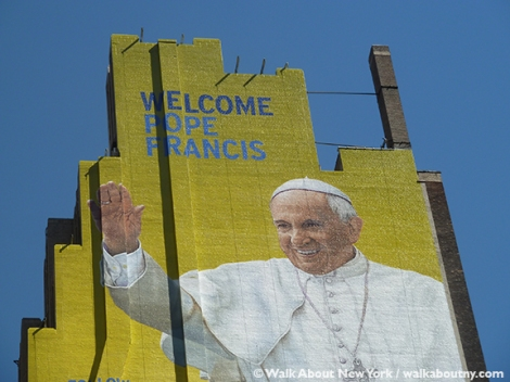 Pope Francis, Papal Visit, New York City, Painted Mural, September 2015, Follow the Pope,