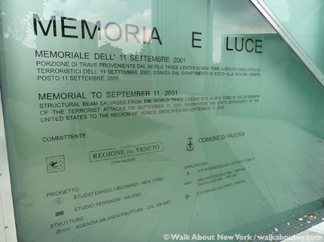Memoria e Luce, Memory and Light, 9/11, September 11th, World Trade Center, Twin Towers, Daniel Libeskind, Padua, Padova, Italy, New York, 2001, New York City, New York, Italian