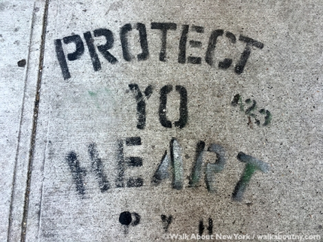 Protect Your Heart, Sidewalk, Graffiti, Stencil, New York, Look Down, #protectyourheart, Protect Yo Heart, Art, Heart