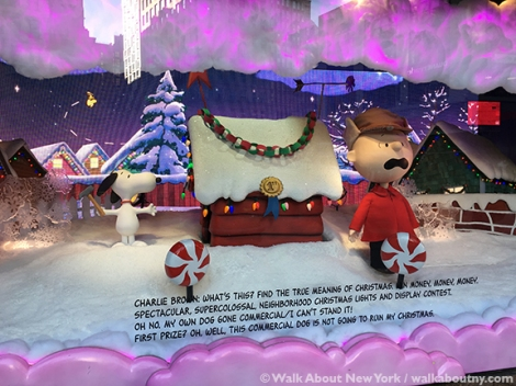 Macy's, Saks Fifth Avenue, Harry Winston, Tiffany & Co., Bergdorf Goodman, Barneys, Christmas, Windows, Window Decoration, Swarvosky, Crystal,Charlie Brown
