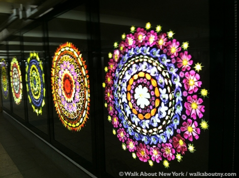 Portia Munson, Subway Art, Walk About New York, Subway Art Tour, Bryant Park, Flowers, MTA Arts and Design, Art,