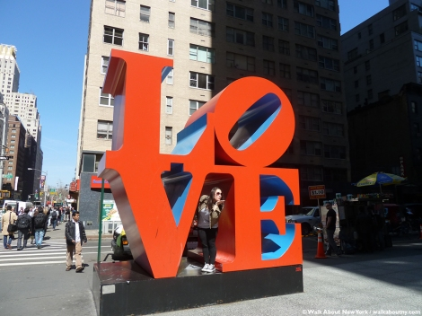 Robert Indiana, Love, Sculpture, Art, Walk About New York, Sidewalk Art, Pop Art, New York Streets, New York, Sculptural Art, Sixth Avenue, West 55th Street