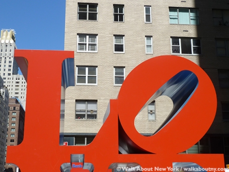 Robert Indiana, Love, Sculpture, Art, Walk About New York, Sidewalk Art, Pop Art, New York Streets, New York, Sculptural Art, Sixth Avenue, West 55th Street
