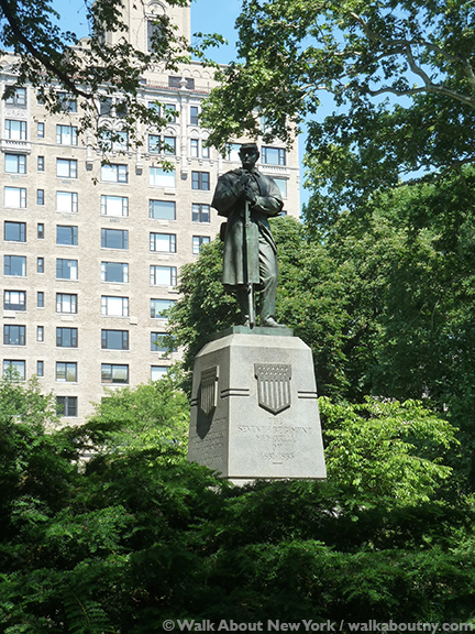 Seventh Regiment Memorial, John Quincy Adams Ward, Richard Morris Hunt, Central Park, Central Park Walking Tour, Memorial Day, Civil War,