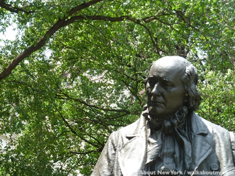Horace Greeley, New York Tribune, World Press Freedom Day, Park Row, Printers Row, John Quincy Adams Ward