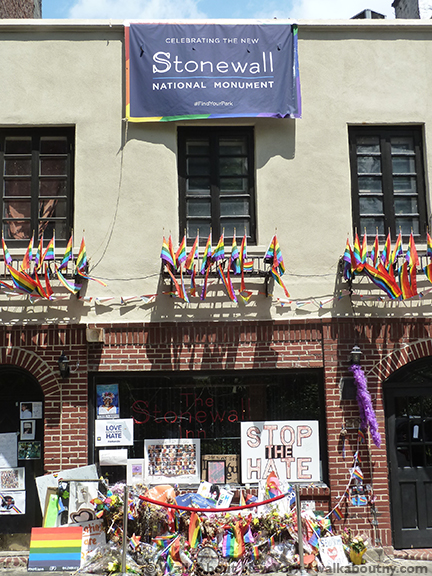 Stonewall Inn, Stonewall National Monument, Gay Village Walking Tour, Walk About New York, Greenwich Village, Christopher Park, Stonewall Uprising; Stonewall Riots, General Sheridan, Gay Liberation Monument