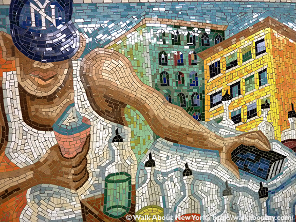 Subway Art Tour Three, Subway Art, New York, Subway, Walk About New York, Walking Tours, Guided Walking Tours, East 110th Street, Manuel Vega, Sábado en la Ciento Diez, Saturday on 110th Street, 1996, Ceramic Mosaic
