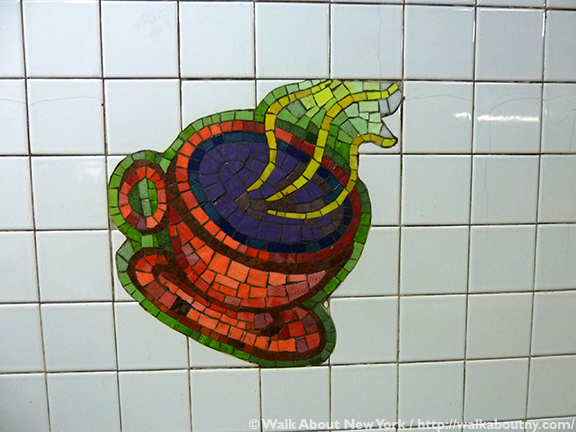Subway Art Tour Three, Subway Art, New York, Subway, Walk About New York, Walking Tours, Guided Walking Tours, Lexington Avenue, East 59th Street, Elizabeth Murray, Blooming, 1996, Glass Mosaic, Mezzanine; Medallions on 4 5 express