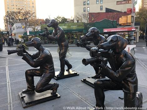 Paparazzi Dogs, Gillie and Marc, Greenwich Village, Ruth Wittenberg, Triangle, Greenwich Village Walking Tour, Bronze Sculpture, Art, Australia, Sydney, Melbourne, Dogs