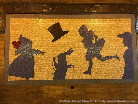 Alice in Wonderland, Subway Art Tour One, Subway Art, Walk About New York, Liliana Porter, mosaics, Broadway, Theater, Alice's Adventures in Wonderland, Arts for Transit, MTA Arts and Design