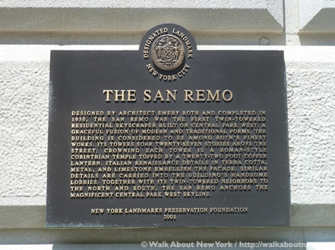 San Remo, Central Park West, Emery Roth, Central Park, Walk About New York, Walking Tour, Landmark, New York City, Apartment Building, Bronze Plaque