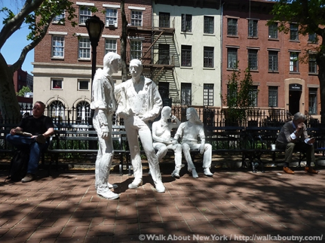 Gay Liberation Monument, Christopher Park, George Segal, Gay Pride, Greenwich Village, Greenwich Village Walking Tour, Gay Rights, Stonewall Inn, Stonewall Riots, Stonewall National Monument, Gay Liberation, June 29 1969, Walk About New York, West Village, New York City