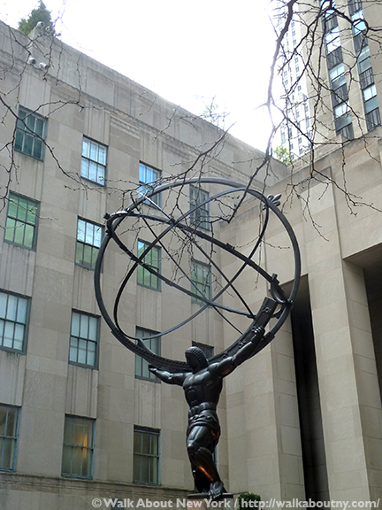 Atlas, Rockefeller Center, Lee Lawrie, Rene Paul Chambellan, St. Patrick's Cathedral, International Building, 630 Fifth Avenue, Bronze, Sculpture, Art, Rockefeller Plaza, Armillary Sphere, Greek Gods, Titans