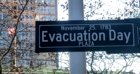 Evacuation Day, Bowling Green, Downtown Manhattan, Downtown Manhattan Walking Tour, George Washington, General Washington, Charging Bull, Evacuation Day Plaza, New York City, Revolutionary War, American War for Independence, Charging Bull
