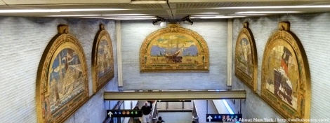 Marine Grill Murals, Fulton Street, Frederick Dana Marsh, Subway Art, Walk About New York, Friends of Terracotta, Terracotta, Mural, New York Harbor, New York City, William Street, Reginald Marsh