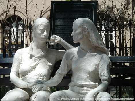 International Women's Day, Women's History Month, Women, Empowering Women, Me Too, Lesbian, Leslie Cohen, Beth Suskin, Gay LIberation, Gay Village, Stonewall, Gay Liberation Monument, Christopher Park, West Village, The Sahara