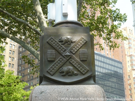 New Amsterdam, New York, New Netherlands, Dutch, Flagpole, Flagstaff, Tercentenary, State Street, Battery Place, The Battery, The Netherlands, Wall Street, Downtown Manhattan, Downtown Manhattan Walking Tour, Henry Hudson, Seal of the City of New York