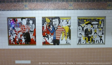 Subway Art, Art Underground, Walking Tours, Greenwich Village, Christopher Street, Lee Brozgol, Mosaic Art, Ceramic Art, Bohemians, Founders, Providers, Rebels, Mabel Dodge, Marcel Duchamp, John Reed, Thomas Paine, Emma Goldman, Gertrude Vanderbilt Whitney, Whitney Museum of American Art, Children's Art, P.S. 41,