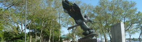 World War II, World War II Memorials, War Memorials, East Coast Memorial, Navy, Coast Guard, Army, Merchant Marine, Air Force, New York Harbor, Grateful Nation, Eagle, Bronze, Downtown Manhattan, Wall Street Area, Lower Manhattan