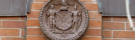 New York City History, City Seal, Dutch New York, New Amsterdam, Coat of Arms, Beaver, Windmill, Flour, Barrels, History, the Netherlands, English New York, Leni Lenape, Native Americans, Manhattan